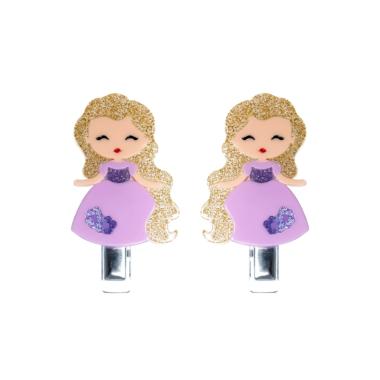 Presilha de Cabelo  Bonequinha Princesa Vestido Lilás