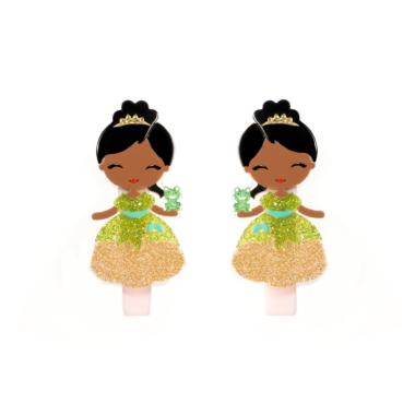 Presilha de Cabelo  Bonequinha Princesa Vestido Verde e Dourado