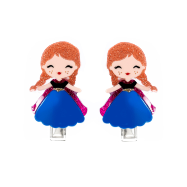 Presilha de Cabelo Bonequinha Princesa de Acrílico Vestido Azul