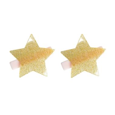 Presilha de Cabelo Estrela de Acrílico Dourada