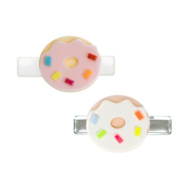 Presilha de Cabelo Donuts de Acrílico Bege e Rosa com Confete