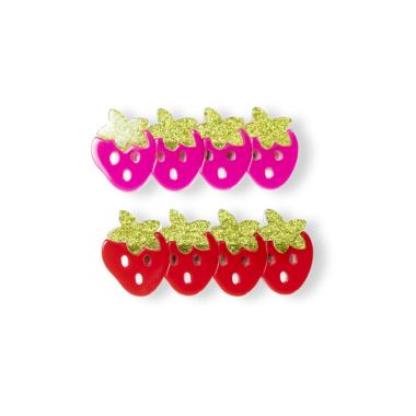 Presilha de Cabelo Mini Morango de Acrílico Vermelho com Pink