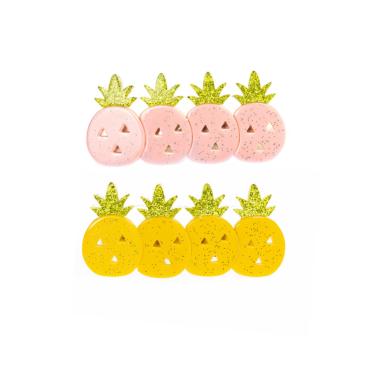 Presilha de Cabelo Mini Abacaxi de Acrílico Rosa com Amarelo