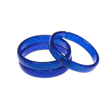Pulseira de Acrílico Azul Escura com Glitter