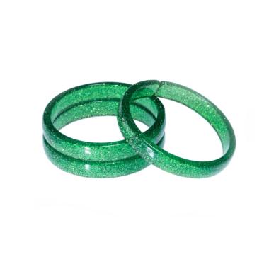 Pulseira em Arílico Verde Escuro Purpurinado
