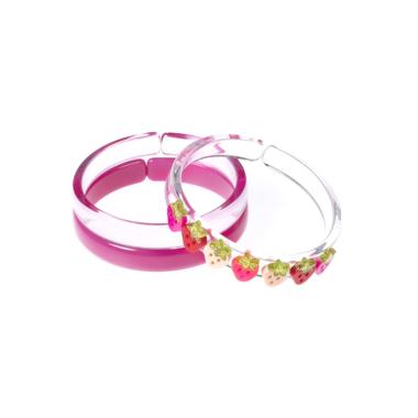 Pulseira de Acrílico com Aplicação de Morango Vermelho com Pink