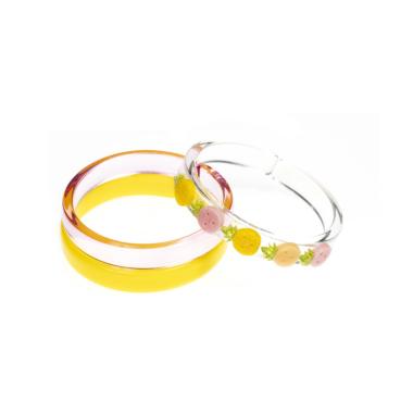 Pulseira de Acrílico com Aplicação de Abacaxi Rosa com Amarelo