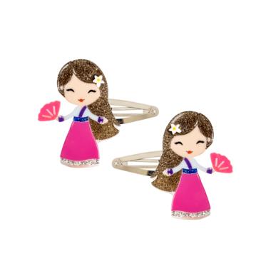 Clip de Cabelo Bonequinha Princesa com Leque