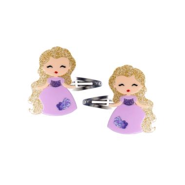 Clip de Cabelo Bonequinha Princesa Vestido Lilás