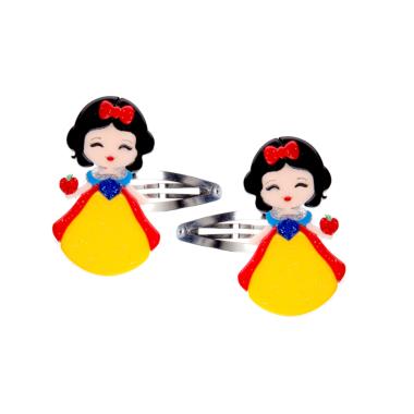 Clip de Cabelo Bonequinha Princesa Vestido Amarelo e Azul