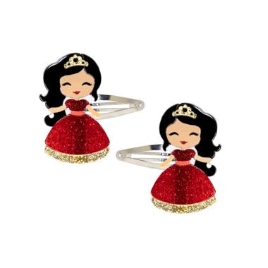 Clip de Cabelo Bonequinha Princesa Vestido Vermelho