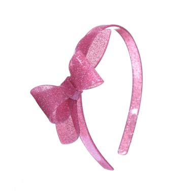 Tiara de Acrílico Laço Rosane Rosa Vintage com Glitter