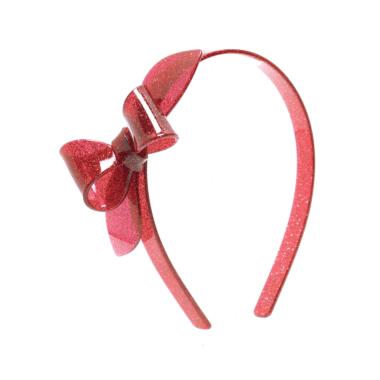 Tiara de Acrílico Laço Rosane Vermelho com Glitter