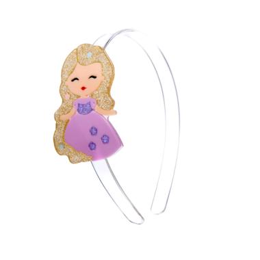 Tiara de Acrílico Bonequinha Princesa Vestido Lilás
