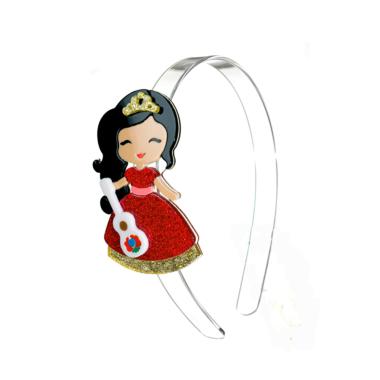 Tiara de Acrílico Bonequinha Princesa Vestido Vermelho