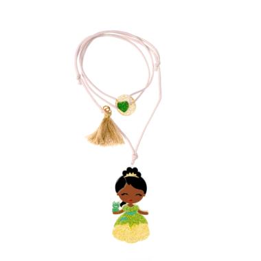 Colar de  Bonequinha Princesa Vestido Verde e Dourado