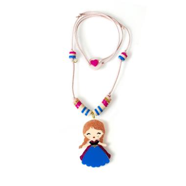 Colar de Bonequinha Princesa de Acrílico Vestido Azul