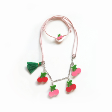 Colar de Multi Cerejinhas Pink