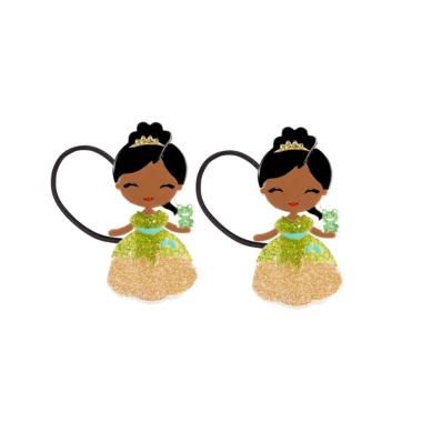 Gominha de Cabelo  Bonequinha Princesa Vestido Verde e Dourado