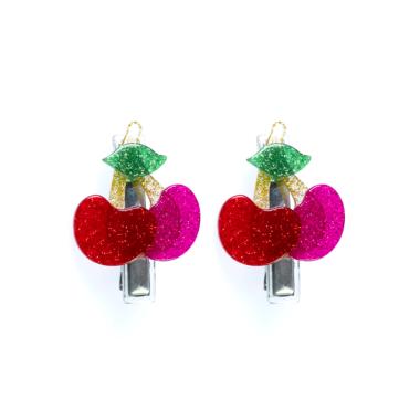 Presilha de Cabelo Cerejinha de Acrílico Vermelho e Pink com Glitter